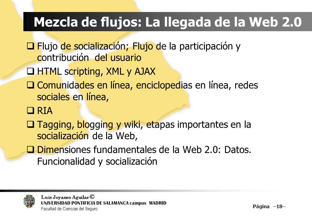 Luis Joyanes Aguilar © UNIVERSIDAD PONTIFICIA DE SALAMANCA campus MADRID Facultad de Ciencias del Seguro Mezcla de flujos: La llegada de la Web 2.0 Fl