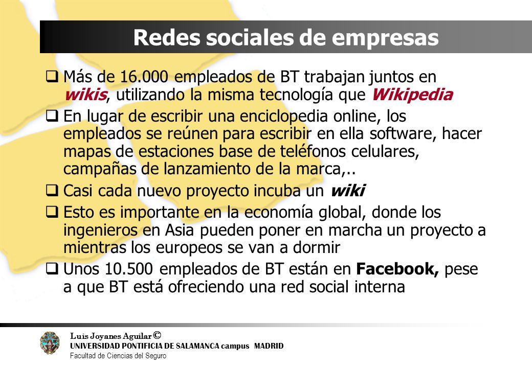 Luis Joyanes Aguilar © UNIVERSIDAD PONTIFICIA DE SALAMANCA campus MADRID Facultad de Ciencias del Seguro Redes sociales de empresas Más de 16.000 empl