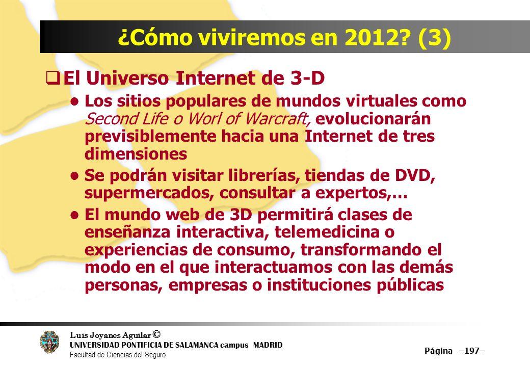 Luis Joyanes Aguilar © UNIVERSIDAD PONTIFICIA DE SALAMANCA campus MADRID Facultad de Ciencias del Seguro Página –197– ¿Cómo viviremos en 2012? (3) El