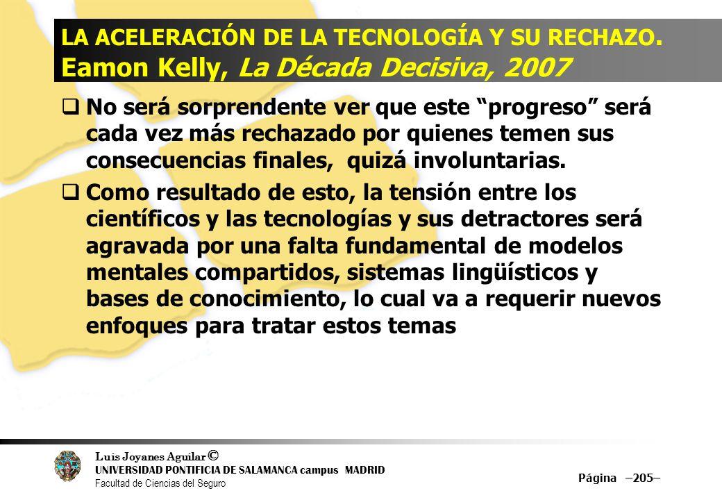 Luis Joyanes Aguilar © UNIVERSIDAD PONTIFICIA DE SALAMANCA campus MADRID Facultad de Ciencias del Seguro Página –205– LA ACELERACIÓN DE LA TECNOLOGÍA