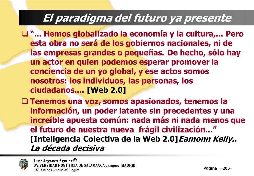 Luis Joyanes Aguilar © UNIVERSIDAD PONTIFICIA DE SALAMANCA campus MADRID Facultad de Ciencias del Seguro Página –206– El paradigma del futuro ya prese