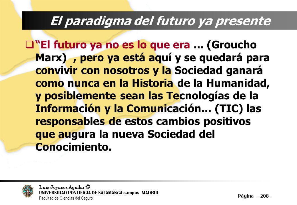 Luis Joyanes Aguilar © UNIVERSIDAD PONTIFICIA DE SALAMANCA campus MADRID Facultad de Ciencias del Seguro Página –208– El paradigma del futuro ya prese