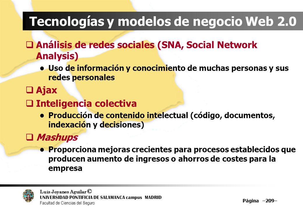 Luis Joyanes Aguilar © UNIVERSIDAD PONTIFICIA DE SALAMANCA campus MADRID Facultad de Ciencias del Seguro Página –209– Tecnologías y modelos de negocio