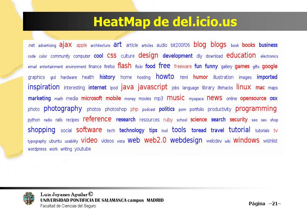 Luis Joyanes Aguilar © UNIVERSIDAD PONTIFICIA DE SALAMANCA campus MADRID Facultad de Ciencias del Seguro HeatMap de del.icio.us Página –21–