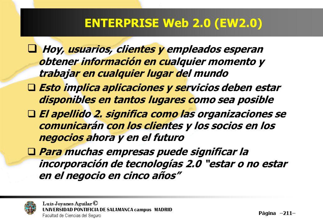 Luis Joyanes Aguilar © UNIVERSIDAD PONTIFICIA DE SALAMANCA campus MADRID Facultad de Ciencias del Seguro Página –211– ENTERPRISE Web 2.0 (EW2.0) Hoy,