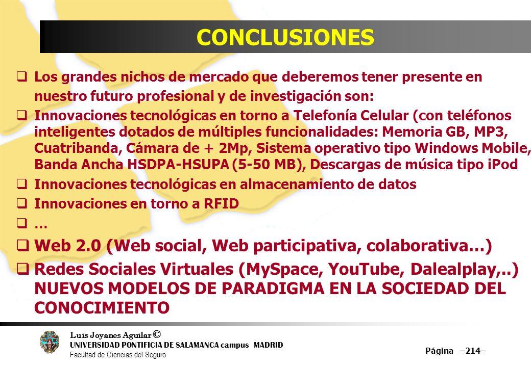 Luis Joyanes Aguilar © UNIVERSIDAD PONTIFICIA DE SALAMANCA campus MADRID Facultad de Ciencias del Seguro Página –214– CONCLUSIONES Los grandes nichos