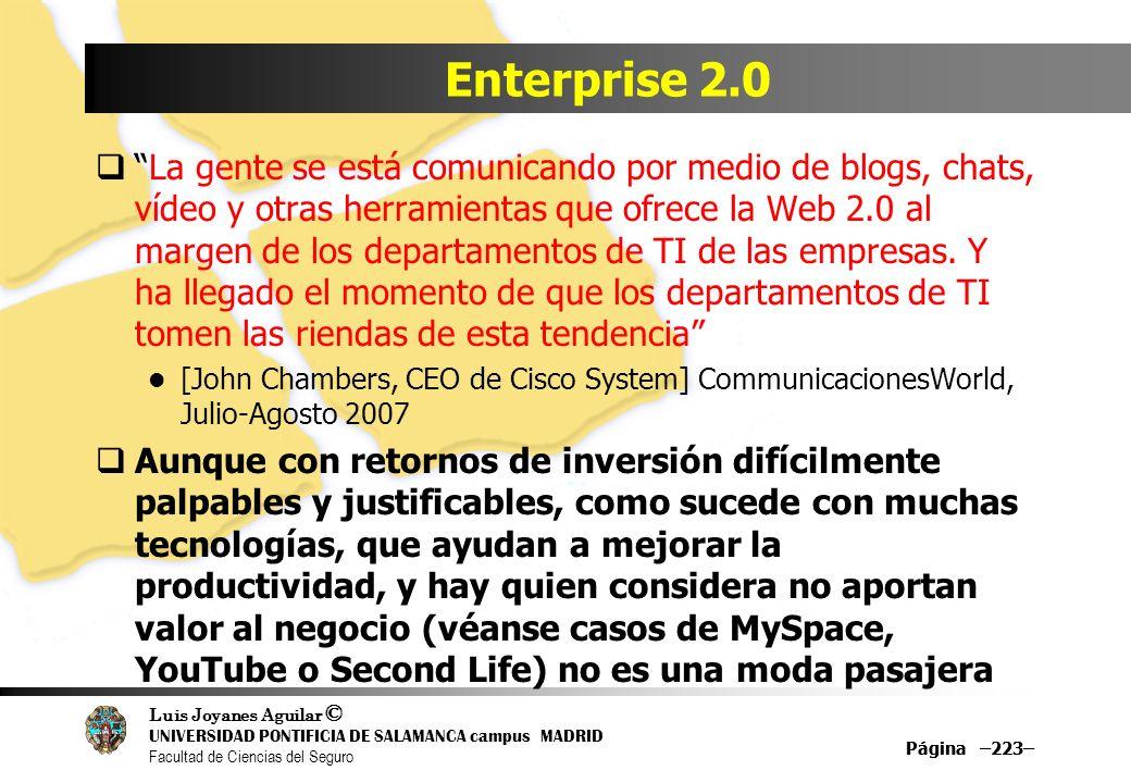Luis Joyanes Aguilar © UNIVERSIDAD PONTIFICIA DE SALAMANCA campus MADRID Facultad de Ciencias del Seguro Página –223– Enterprise 2.0 La gente se está