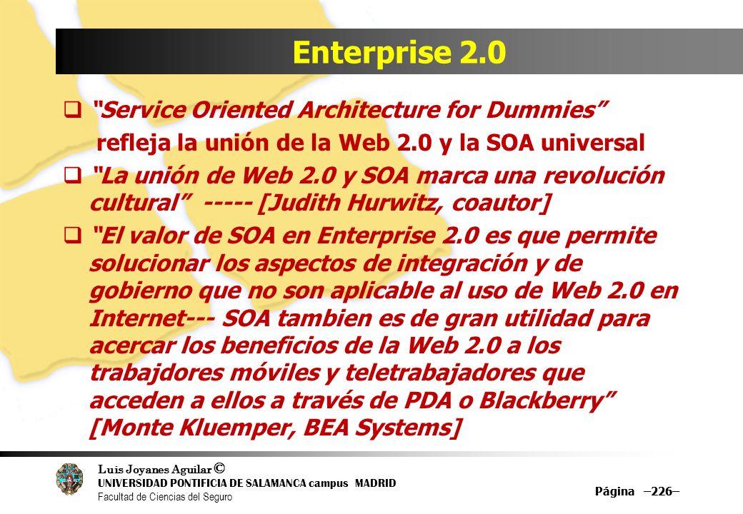 Luis Joyanes Aguilar © UNIVERSIDAD PONTIFICIA DE SALAMANCA campus MADRID Facultad de Ciencias del Seguro Página –226– Enterprise 2.0 Service Oriented