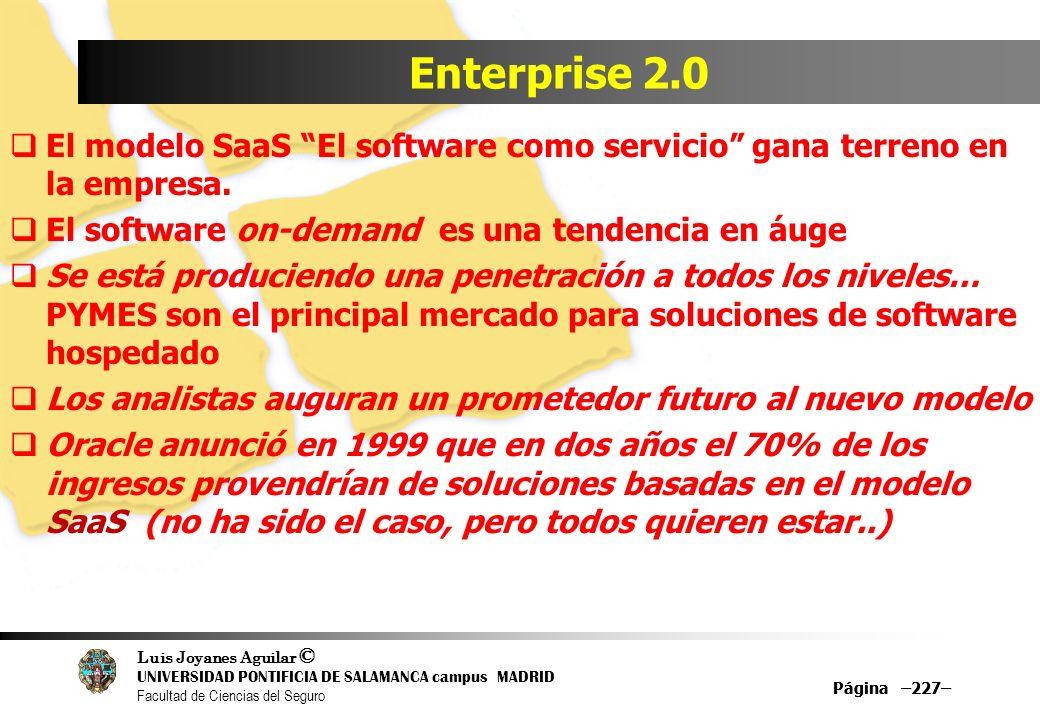 Luis Joyanes Aguilar © UNIVERSIDAD PONTIFICIA DE SALAMANCA campus MADRID Facultad de Ciencias del Seguro Página –227– Enterprise 2.0 El modelo SaaS El