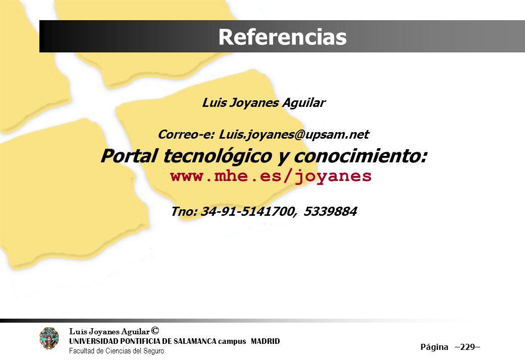Luis Joyanes Aguilar © UNIVERSIDAD PONTIFICIA DE SALAMANCA campus MADRID Facultad de Ciencias del Seguro Página –229– Referencias Luis Joyanes Aguilar