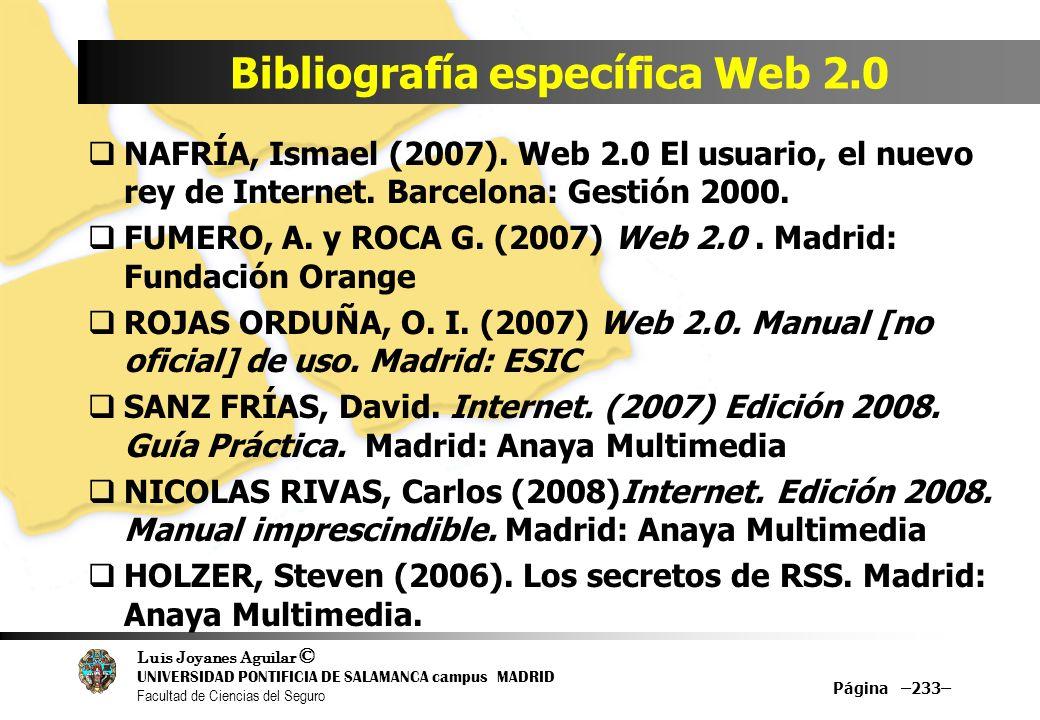 Luis Joyanes Aguilar © UNIVERSIDAD PONTIFICIA DE SALAMANCA campus MADRID Facultad de Ciencias del Seguro Bibliografía específica Web 2.0 Página –233–