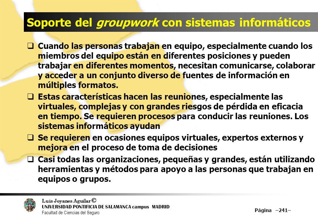 Luis Joyanes Aguilar © UNIVERSIDAD PONTIFICIA DE SALAMANCA campus MADRID Facultad de Ciencias del Seguro Soporte del groupwork con sistemas informátic