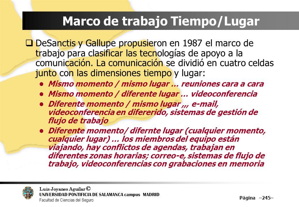 Luis Joyanes Aguilar © UNIVERSIDAD PONTIFICIA DE SALAMANCA campus MADRID Facultad de Ciencias del Seguro Marco de trabajo Tiempo/Lugar DeSanctis y Gal