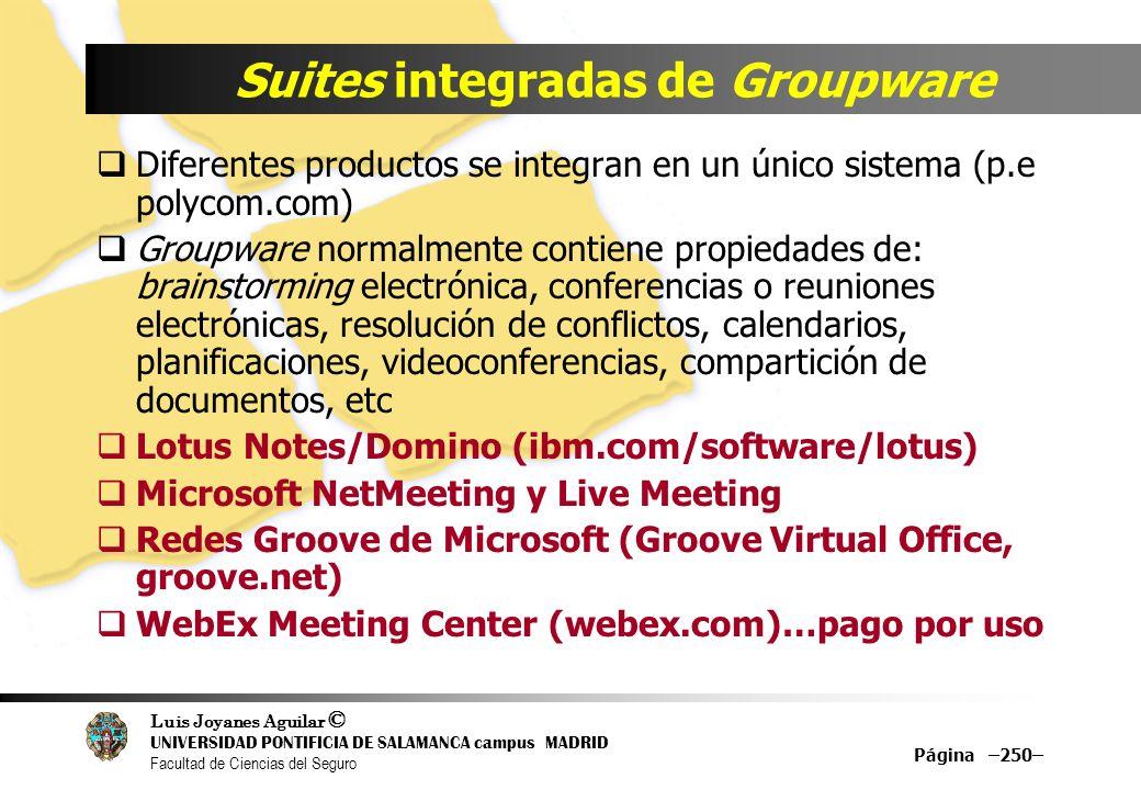 Luis Joyanes Aguilar © UNIVERSIDAD PONTIFICIA DE SALAMANCA campus MADRID Facultad de Ciencias del Seguro Suites integradas de Groupware Diferentes pro