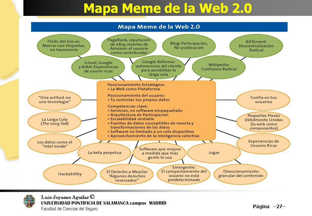 Luis Joyanes Aguilar © UNIVERSIDAD PONTIFICIA DE SALAMANCA campus MADRID Facultad de Ciencias del Seguro Mapa Meme de la Web 2.0 Página –27–