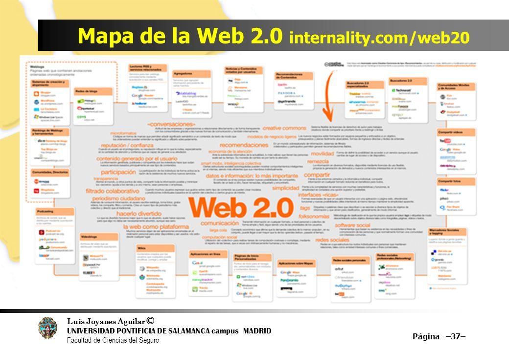 Luis Joyanes Aguilar © UNIVERSIDAD PONTIFICIA DE SALAMANCA campus MADRID Facultad de Ciencias del Seguro Mapa de la Web 2.0 internality.com/web20 Pági