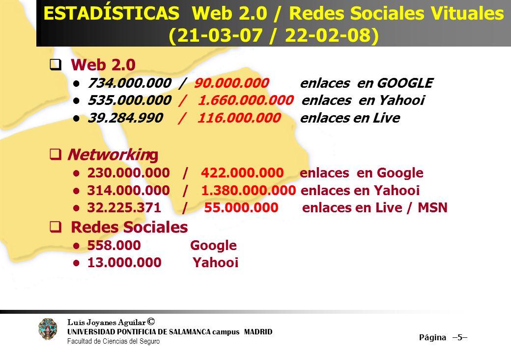 Luis Joyanes Aguilar © UNIVERSIDAD PONTIFICIA DE SALAMANCA campus MADRID Facultad de Ciencias del Seguro Página –5– ESTADÍSTICAS Web 2.0 / Redes Socia