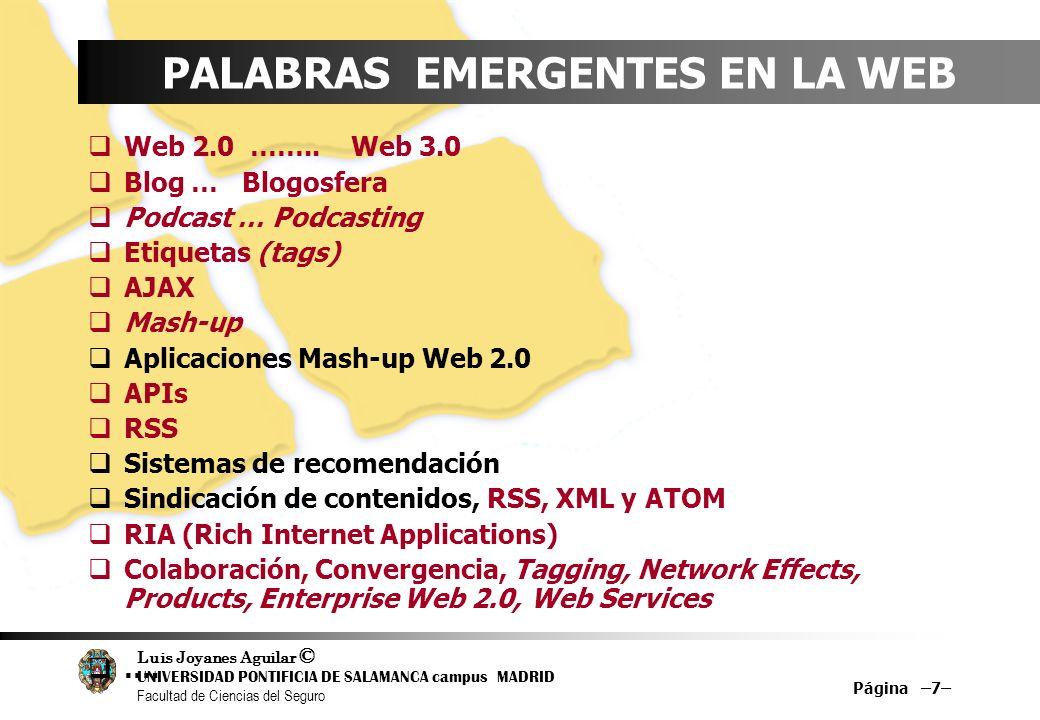 Luis Joyanes Aguilar © UNIVERSIDAD PONTIFICIA DE SALAMANCA campus MADRID Facultad de Ciencias del Seguro Página –7– PALABRAS EMERGENTES EN LA WEB Web