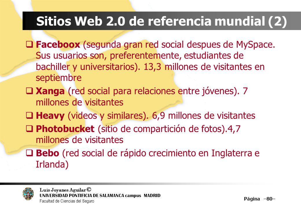 Luis Joyanes Aguilar © UNIVERSIDAD PONTIFICIA DE SALAMANCA campus MADRID Facultad de Ciencias del Seguro Página –80– Sitios Web 2.0 de referencia mund