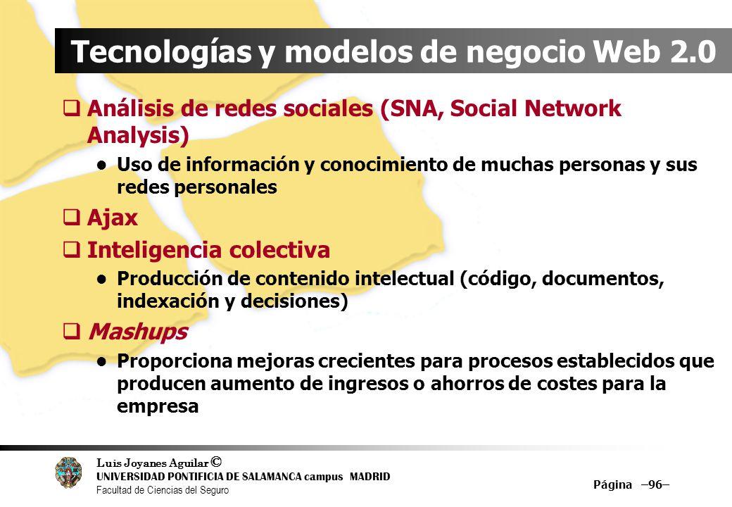 Luis Joyanes Aguilar © UNIVERSIDAD PONTIFICIA DE SALAMANCA campus MADRID Facultad de Ciencias del Seguro Página –96– Tecnologías y modelos de negocio