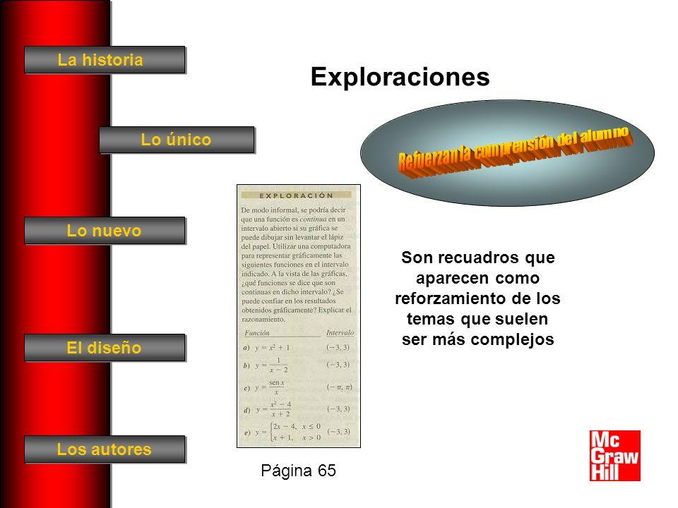 La historia El diseño Los autores Lo único Lo nuevo Exploraciones Son recuadros que aparecen como reforzamiento de los temas que suelen ser más complejos Página 65