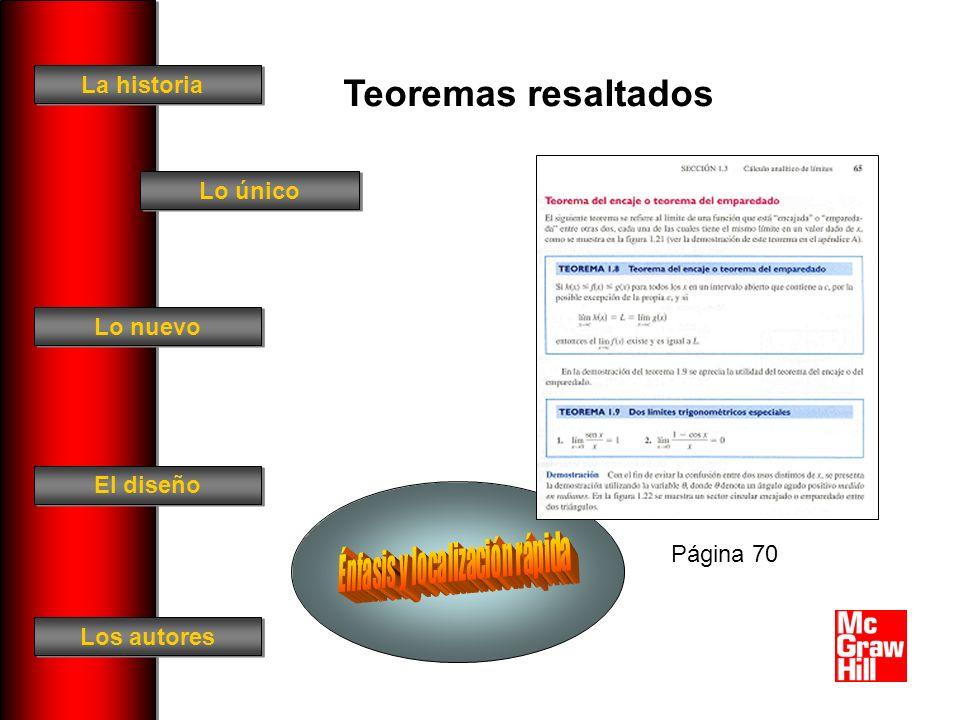 La historia El diseño Los autores Lo único Lo nuevo Teoremas resaltados Página 70