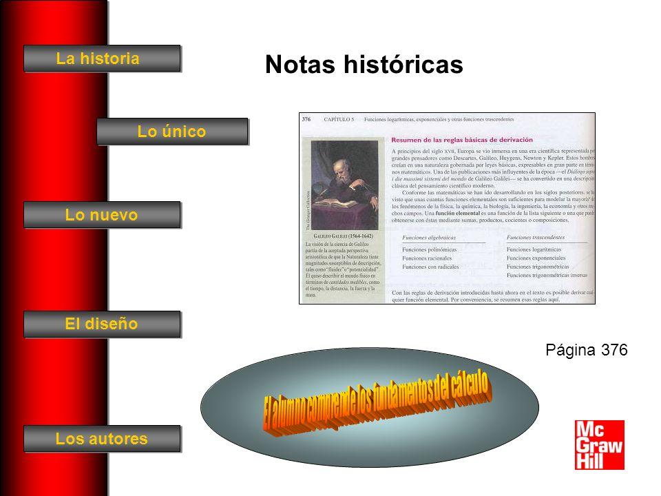 La historia El diseño Los autores Lo único Lo nuevo Notas históricas Página 376