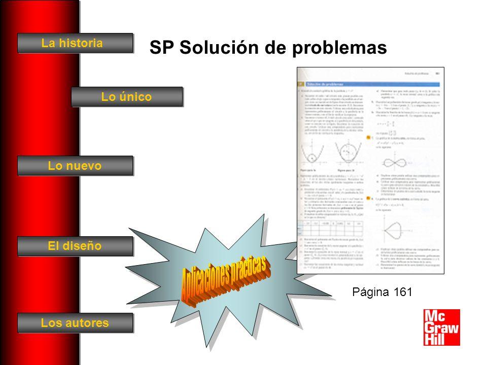 La historia El diseño Los autores Lo único Lo nuevo SP Solución de problemas Página 161