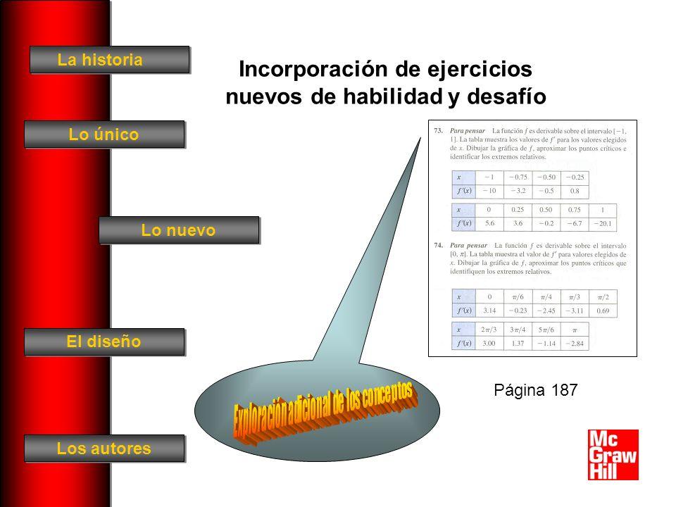 La historia El diseño Los autores Lo único Lo nuevo Incorporación de ejercicios nuevos de habilidad y desafío Página 187