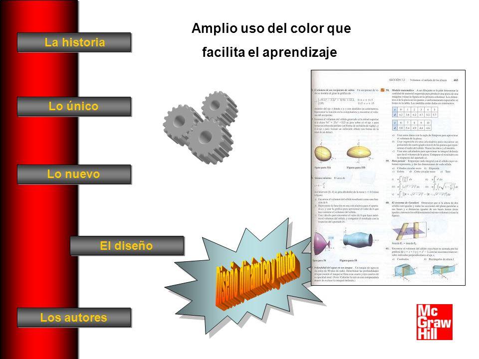 La historia El diseño Los autores Lo único Lo nuevo Amplio uso del color que facilita el aprendizaje