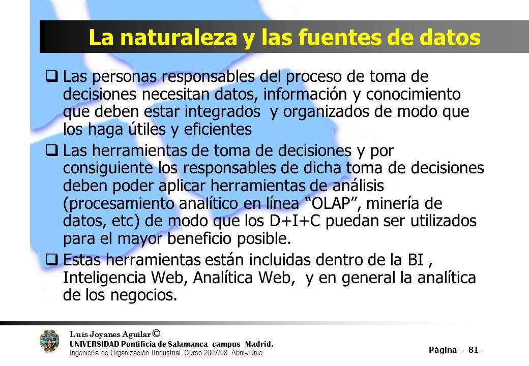 Luis Joyanes Aguilar © UNIVERSIDAD Pontificia de Salamanca campus Madrid. Ingeniería de Organización IIndustrial. Curso 2007/08. Abril-Junio Página –8