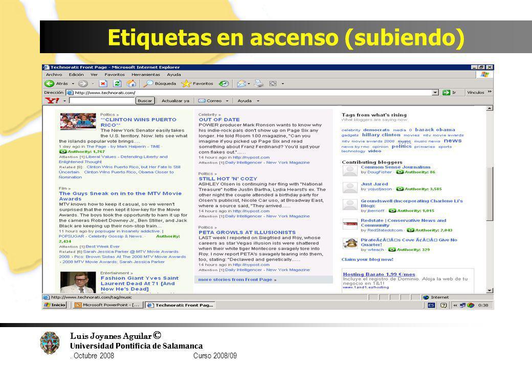 Luis Joyanes Aguilar © Universidad Pontificia de Salamanca. Octubre 2008 Curso 2008/09 Etiquetas en ascenso (subiendo)