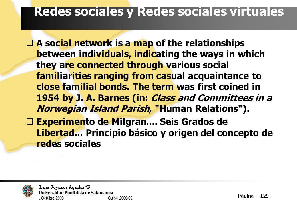 Luis Joyanes Aguilar © Universidad Pontificia de Salamanca. Octubre 2008 Curso 2008/09 Página –129– Redes sociales y Redes sociales virtuales A social