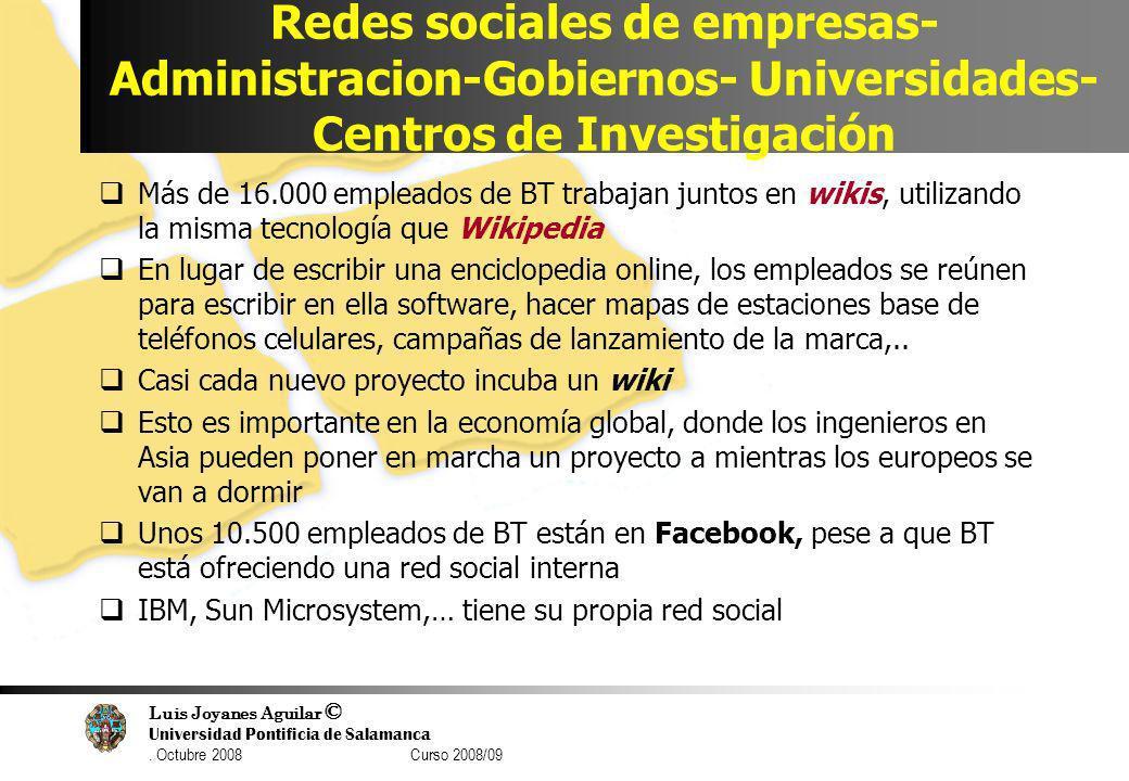 Luis Joyanes Aguilar © Universidad Pontificia de Salamanca. Octubre 2008 Curso 2008/09 Redes sociales de empresas- Administracion-Gobiernos- Universid