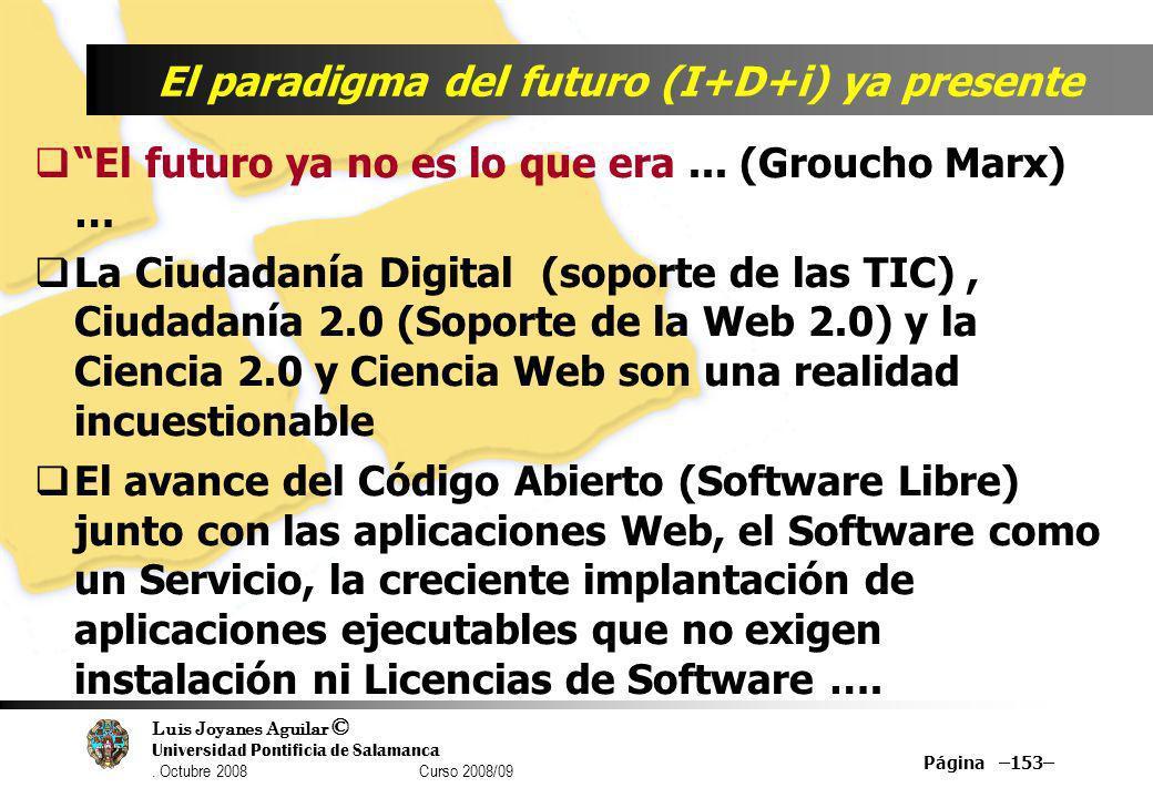 Luis Joyanes Aguilar © Universidad Pontificia de Salamanca. Octubre 2008 Curso 2008/09 Página –153– El paradigma del futuro (I+D+i) ya presente El fut