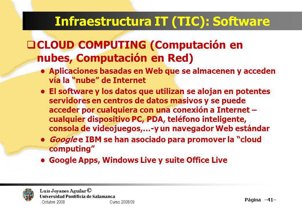 Luis Joyanes Aguilar © Universidad Pontificia de Salamanca. Octubre 2008 Curso 2008/09 Infraestructura IT (TIC): Software CLOUD COMPUTING (Computación