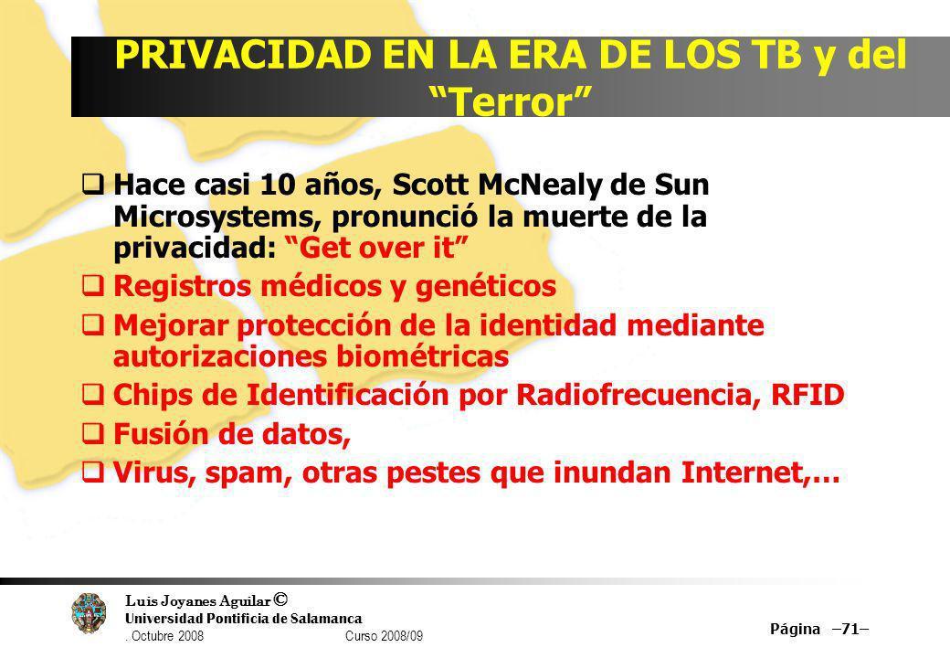 Luis Joyanes Aguilar © Universidad Pontificia de Salamanca. Octubre 2008 Curso 2008/09 Página –71– PRIVACIDAD EN LA ERA DE LOS TB y del Terror Hace ca