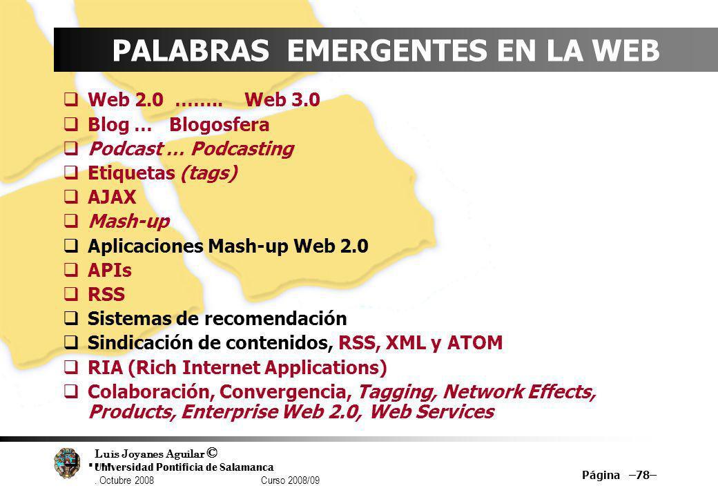 Luis Joyanes Aguilar © Universidad Pontificia de Salamanca. Octubre 2008 Curso 2008/09 Página –78– PALABRAS EMERGENTES EN LA WEB Web 2.0 …….. Web 3.0