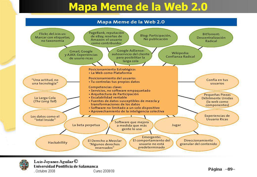 Luis Joyanes Aguilar © Universidad Pontificia de Salamanca. Octubre 2008 Curso 2008/09 Mapa Meme de la Web 2.0 Página –89–