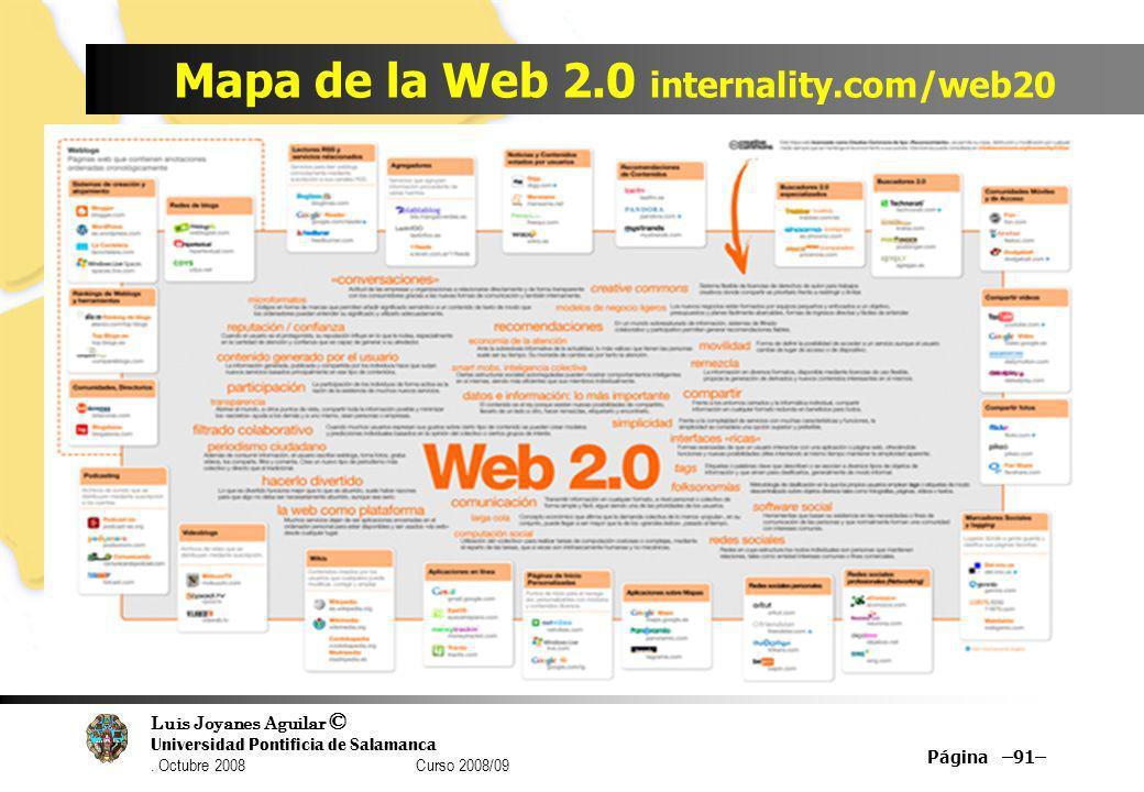 Luis Joyanes Aguilar © Universidad Pontificia de Salamanca. Octubre 2008 Curso 2008/09 Mapa de la Web 2.0 internality.com/web20 Página –91–