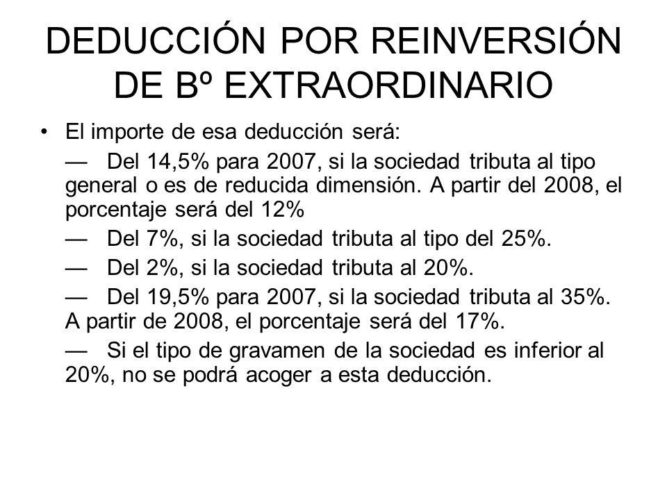 DEDUCCIÓN POR REINVERSIÓN DE Bº EXTRAORDINARIO El importe de esa deducción será: Del 14,5% para 2007, si la sociedad tributa al tipo general o es de reducida dimensión.