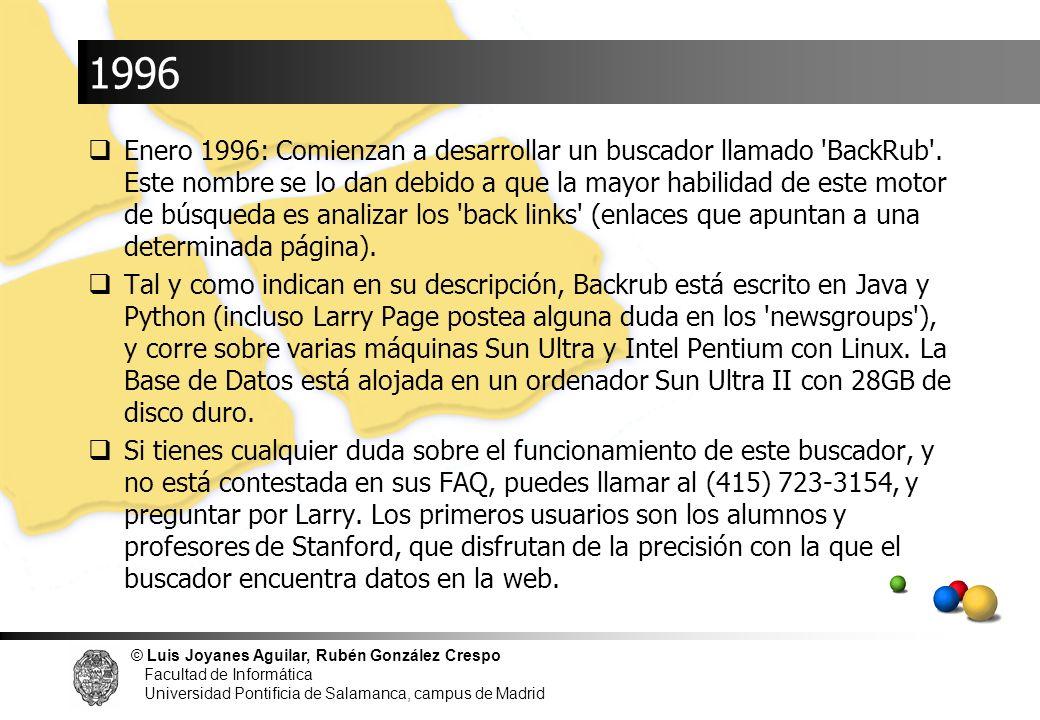 © Luis Joyanes Aguilar, Rubén González Crespo Facultad de Informática Universidad Pontificia de Salamanca, campus de Madrid 1996 Enero 1996: Comienzan