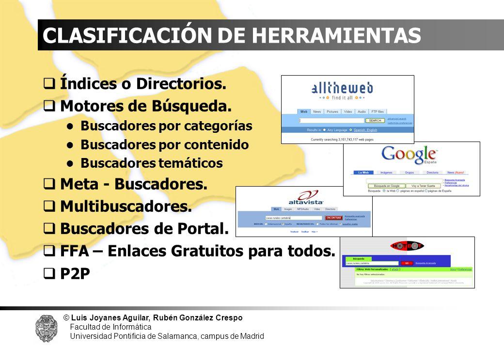 © Luis Joyanes Aguilar, Rubén González Crespo Facultad de Informática Universidad Pontificia de Salamanca, campus de Madrid Encontrar comentarios en weblogs Essential Blogging //www.oreilly.com/catalog/essblogging Encontrar weblogs Movible Type //www.movabletype.org Radio Userland //radiouserland.com Blogger //www.blogger.com Radio Userland //radio.Weblogs.com Contenedores de Información (2)