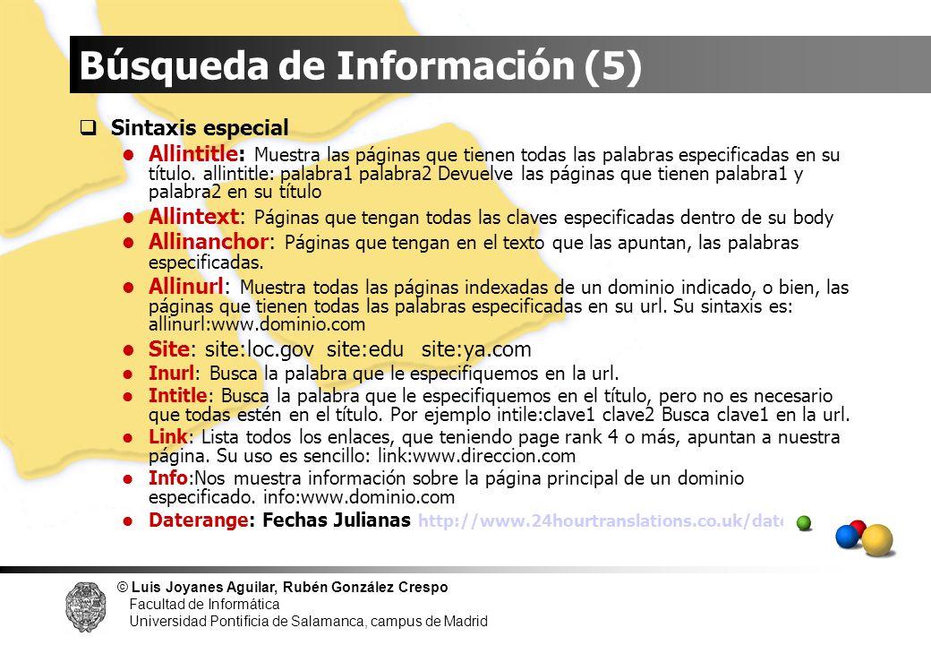 © Luis Joyanes Aguilar, Rubén González Crespo Facultad de Informática Universidad Pontificia de Salamanca, campus de Madrid Sintaxis especial Allintit