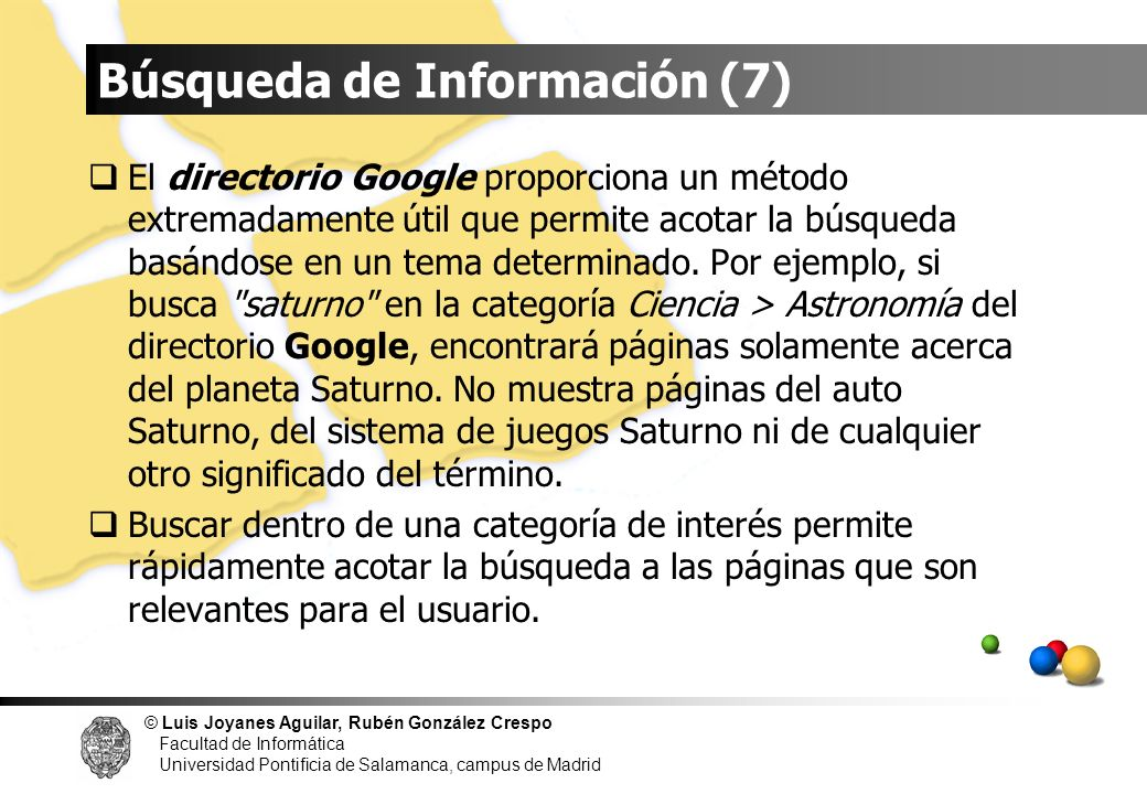 © Luis Joyanes Aguilar, Rubén González Crespo Facultad de Informática Universidad Pontificia de Salamanca, campus de Madrid El directorio Google propo