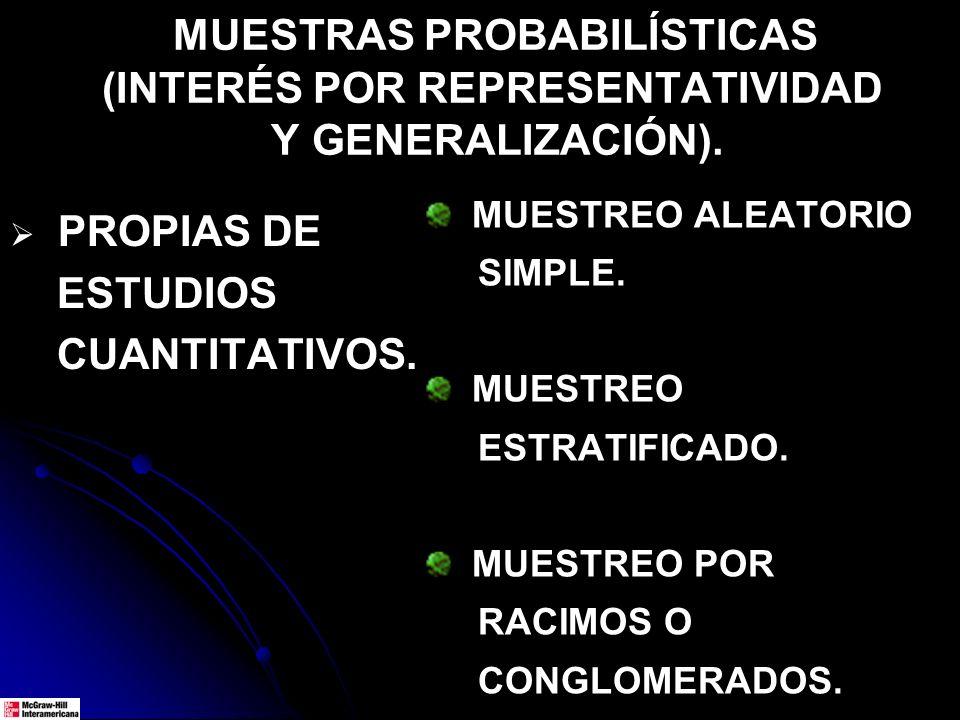 MUESTRAS PROBABILÍSTICAS (INTERÉS POR REPRESENTATIVIDAD Y GENERALIZACIÓN). PROPIAS DE ESTUDIOS CUANTITATIVOS. MUESTREO ALEATORIO SIMPLE. MUESTREO ESTR
