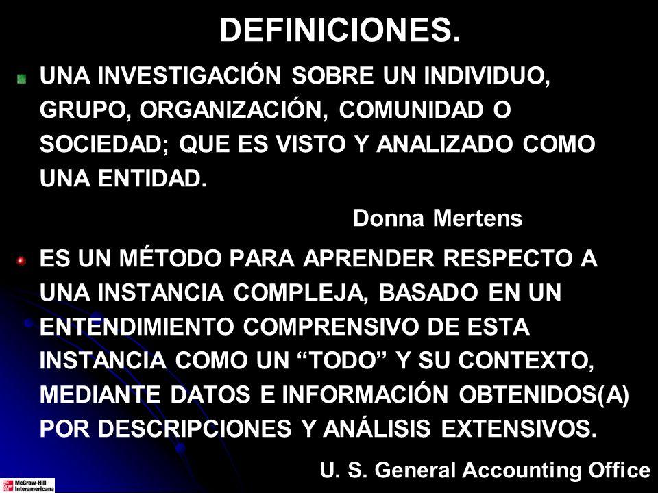 DEFINICIONES. UNA INVESTIGACIÓN SOBRE UN INDIVIDUO, GRUPO, ORGANIZACIÓN, COMUNIDAD O SOCIEDAD; QUE ES VISTO Y ANALIZADO COMO UNA ENTIDAD. Donna Merten