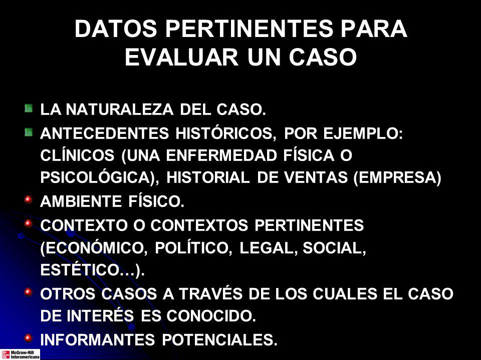 DATOS PERTINENTES PARA EVALUAR UN CASO LA NATURALEZA DEL CASO. ANTECEDENTES HISTÓRICOS, POR EJEMPLO: CLÍNICOS (UNA ENFERMEDAD FÍSICA O PSICOLÓGICA), H