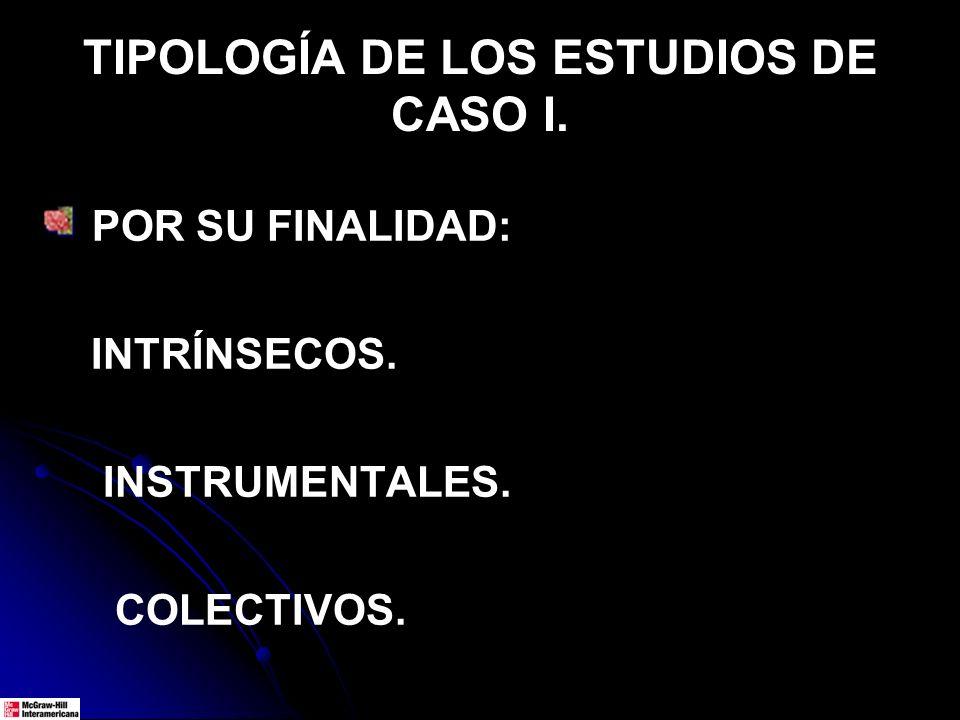 TIPOLOGÍA DE LOS ESTUDIOS DE CASO I. POR SU FINALIDAD: INTRÍNSECOS. INSTRUMENTALES. COLECTIVOS.