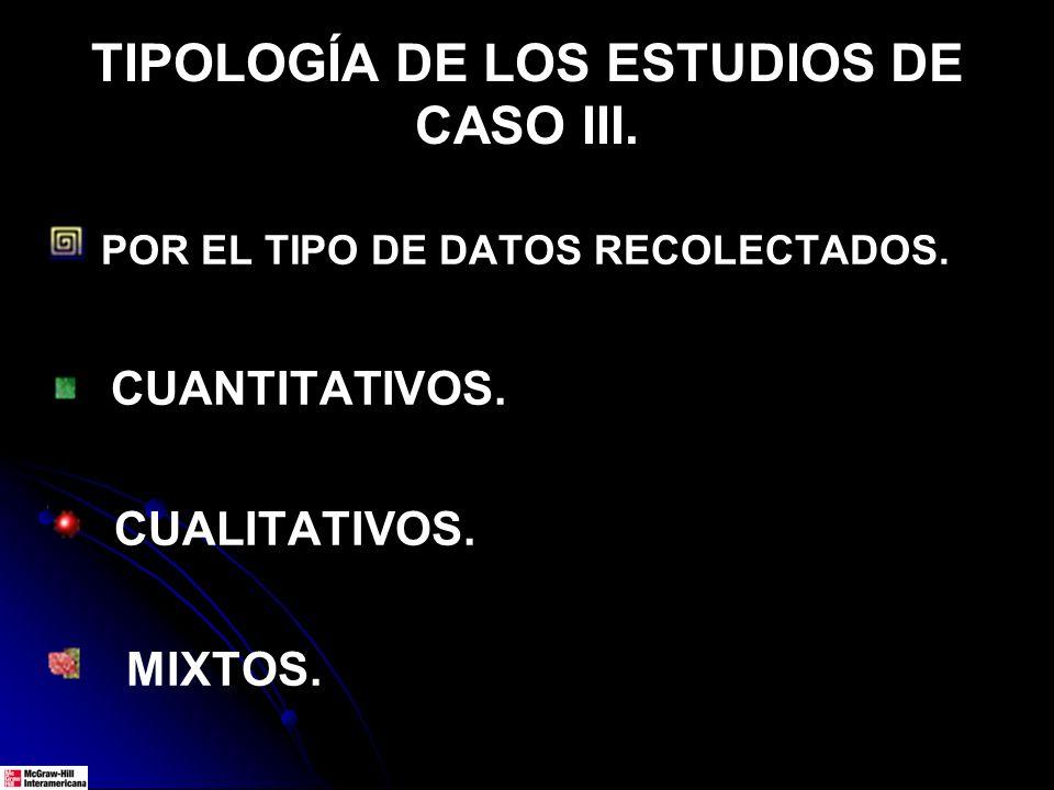 TIPOLOGÍA DE LOS ESTUDIOS DE CASO III. POR EL TIPO DE DATOS RECOLECTADOS. CUANTITATIVOS. CUALITATIVOS. MIXTOS.